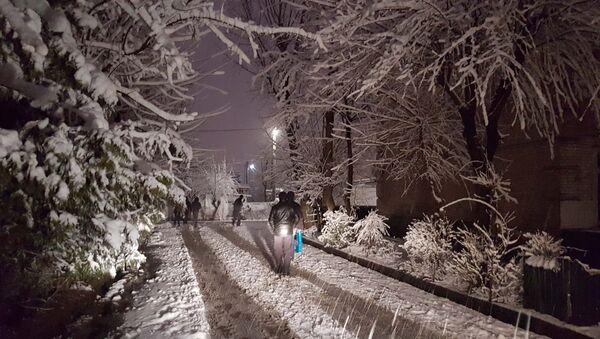 Снегопад в Душанбе, архивное фото - Sputnik Тоҷикистон