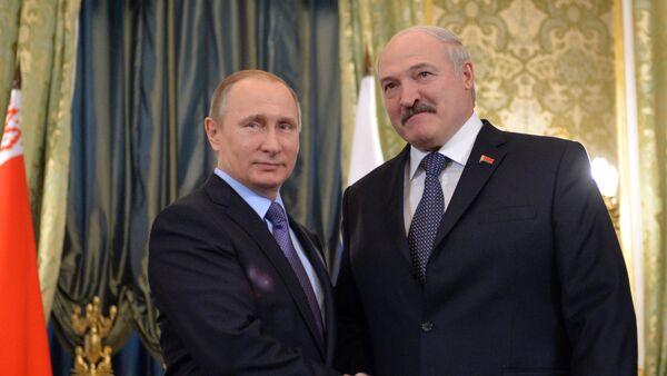Президенти ФР В. Путин ва президенти Белорус Александр Лукашенко - Sputnik Тоҷикистон