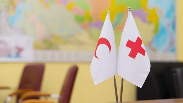Настольные флаги Красного Полумесяца и Красного Креста - Sputnik Таджикистан
