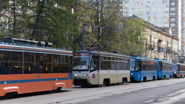 Пробка трамваев в Москве, архивное фото - Sputnik Тоҷикистон