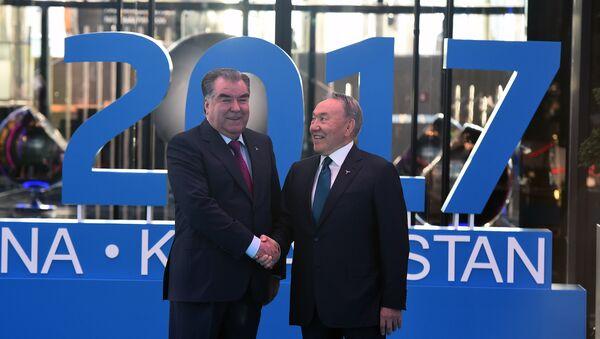 Эмомали Рахмон и Нурсултан Назарбаев на открытии выставки ЭКСПО - 2017 - Sputnik Таджикистан