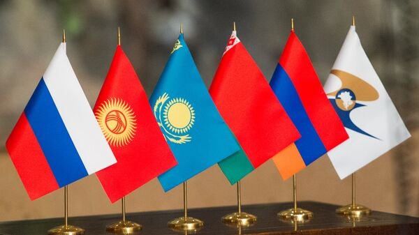 Флаги стран участниц ЕАЭС, архивное фото - Sputnik Тоҷикистон