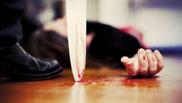 Нож у горла женщины, фото из архива - Sputnik Тоҷикистон