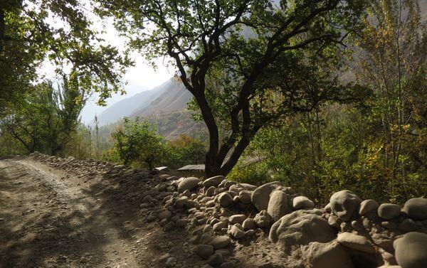 Каменная изгородь аккуратно выложена вдоль горной дороги, архивное фото - Sputnik Таджикистан