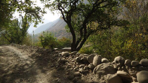 Каменная изгородь аккуратно выложена вдоль горной дороги, архивное фото - Sputnik Тоҷикистон