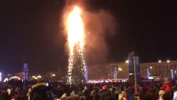 Главная елка Сахалина сгорела в новогоднюю ночь - Sputnik Тоҷикистон