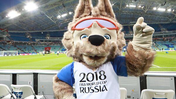 Официальный талисман чемпионата мира по футболу 2018 и Кубка конфедераций FIFA 2017 волк Забивака, архивное фото - Sputnik Таджикистан
