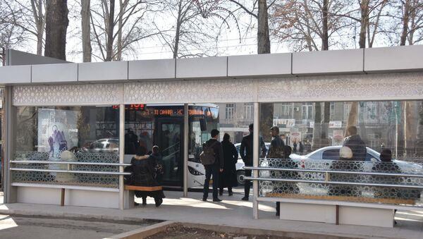 Автобусная остановка в Душанбе, архивное фото - Sputnik Тоҷикистон