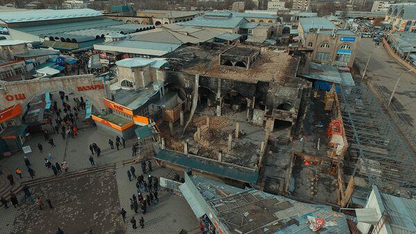 Что осталось от торгового центра после пожара на Ошском рынке — аэросъемка - Sputnik Тоҷикистон