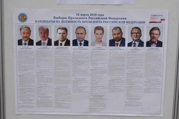 Стенд с информацией о кандидатах на должность президента России - Sputnik Таджикистан