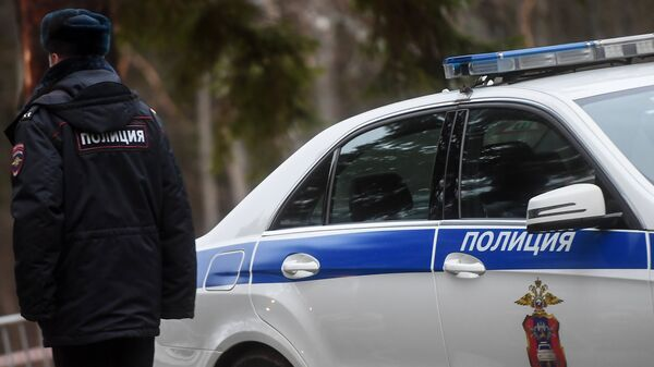 Сотрудник полиции возле служебного автомобиля, архивное фото - Sputnik Таджикистан