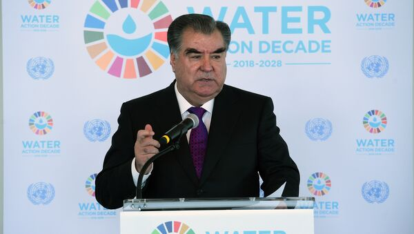 Преидент Таджикистана Эмомали Рахмон выступает с речью о климате в Нью-Йорке - Sputnik Тоҷикистон