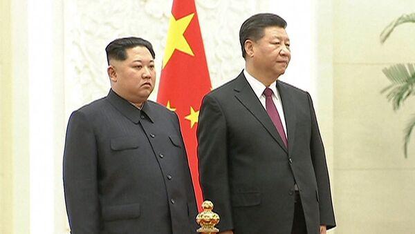 Встреча Ким Чен Ына и Си Цзиньпина в Пекине - Sputnik Тоҷикистон