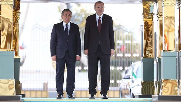 Президент Узбекистана Шавкат Мирзиёев и президент Турции Реджеп Тайип Эрдоган в Анкаре - Sputnik Тоҷикистон