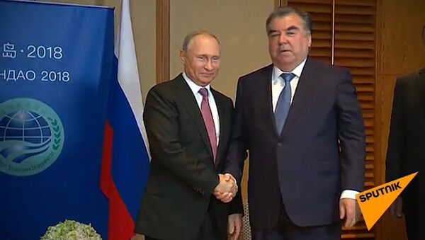 Встреча Владимира Путина и Эмомали Рахмона на полях саммита ШОС в Китае - Sputnik Тоҷикистон
