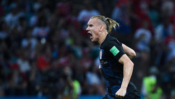 Домагой Вида (Хорватия) радуется забитому голу в матче 1/4 финала чемпионата мира по футболу между сборными России и Хорватии - Sputnik Таджикистан