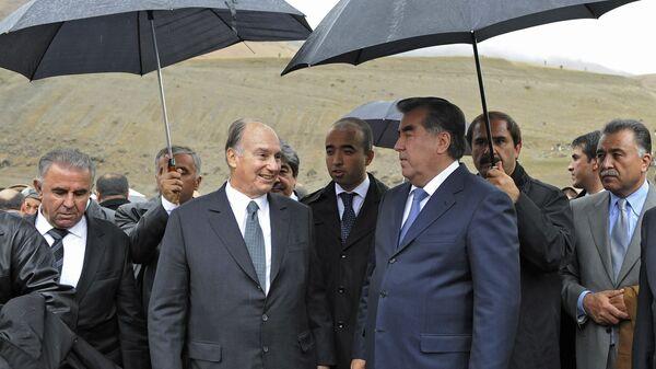 Ага-хан и президент Таджикистана Рахмон посетили место будущего Шуробадского моста, где состоялась церемония закладки фундамента, архивное фото - Sputnik Тоҷикистон