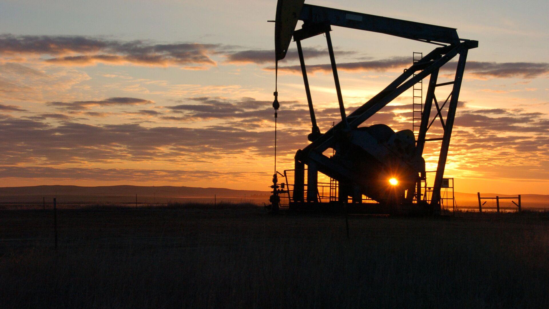 Нефтяной насос на закате, архивное фото  - Sputnik Таджикистан, 1920, 19.03.2021