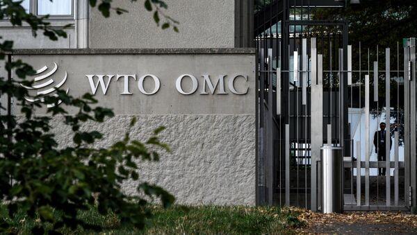 Логотип на здании штаб квартиры WTO, архивное фото - Sputnik Таджикистан