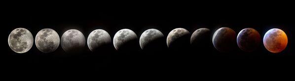 Съемка фаз лунного затмения в США  - Sputnik Таджикистан
