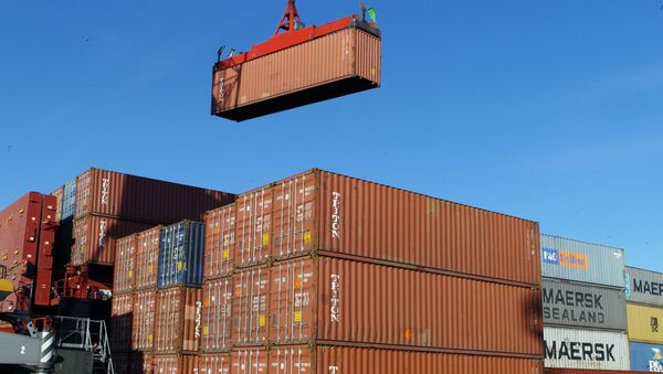 Работа грузового контейнерного терминала, архивное фото - Sputnik Таджикистан
