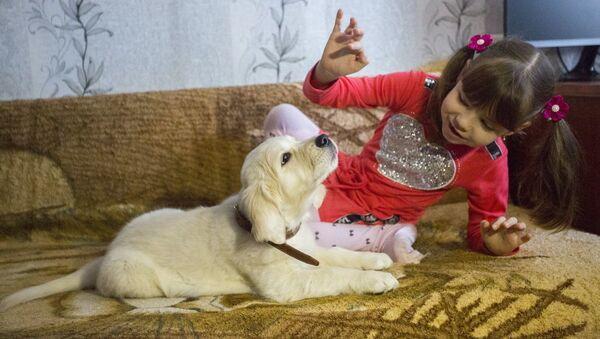 Больная аутизмом девочка из Приморья получила в подарок щенка золотистого ретривера от президента России Владимира Путина - Sputnik Таджикистан