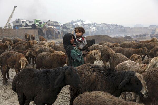 Девушка-пастушка несет на руках свою сестру, Кабул, 2018 год - Sputnik Таджикистан