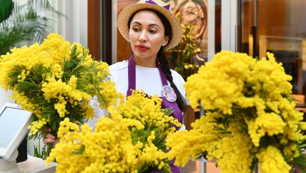 Продажа мимозы на весеннем цветочном базаре в Петровском Пассаже в Москве - Sputnik Таджикистан