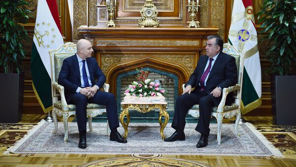 Силуанов Антон министр финансов Российской Федерации и президент Таджикистана Эмомали Рахмон  - Sputnik Таджикистан