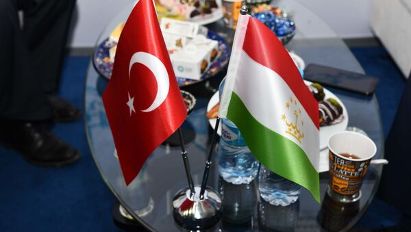 Флаги Турции и Таджикистана - Sputnik Тоҷикистон