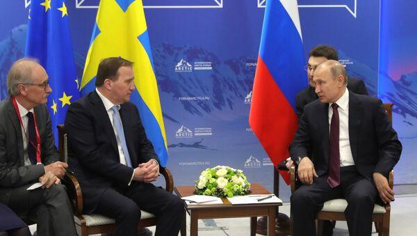 Президент РФ Владимир Путин и премьер-министр Швеции Стефан Левен - Sputnik Таджикистан