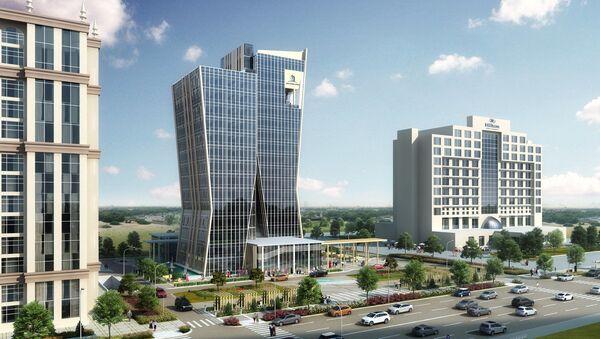 Эскизный проект многофункционального административного комплекса, который будет расположен по улице С.Айни, рядом с гостиницей Hilton - Sputnik Тоҷикистон