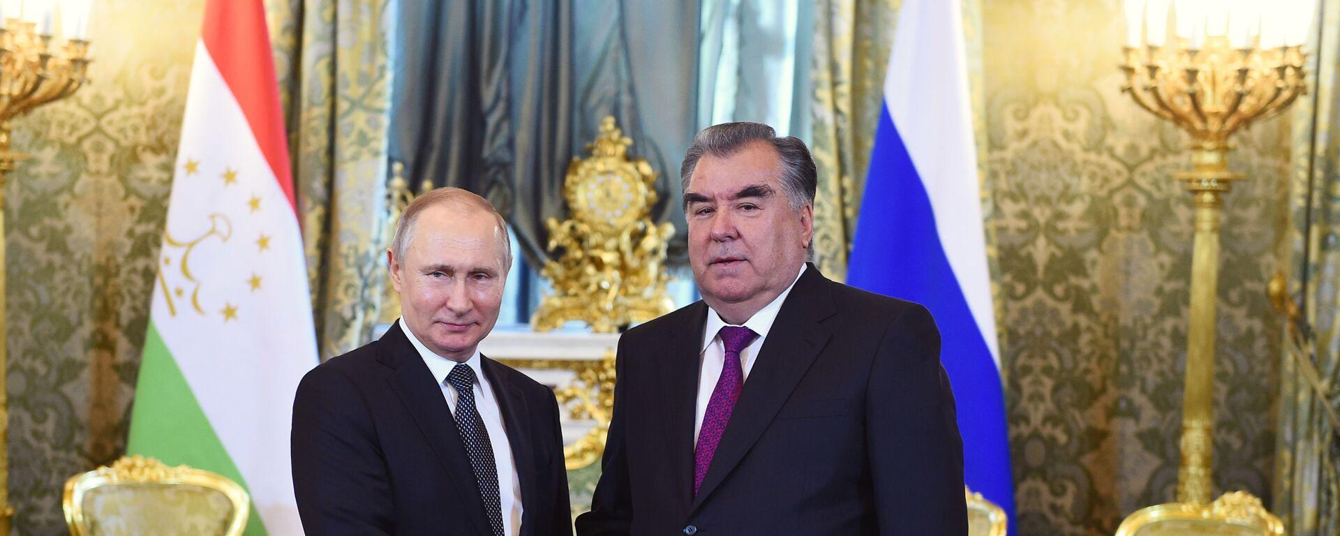Президент России Владимир Путин и президент Таджикистана Эмомали Рахмон в Кремле - Sputnik Таджикистан, 1920, 19.05.2021