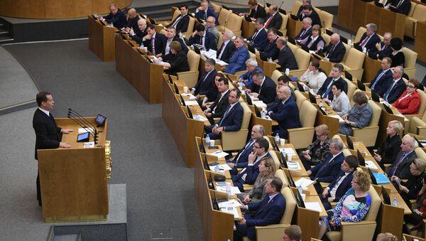 Председатель правительства РФ Дмитрий Медведев выступает в Государственной Думе РФ - Sputnik Тоҷикистон