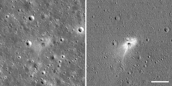 Место падения израильского лунохода Берешит, запечатленного на Луне зондом НАСА - Sputnik Таджикистан
