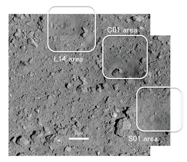 Высококачественная фотография рукотворного кратера (С01) на астероиде Рюгю,  полученная зондом Хаябуса-2 - Sputnik Таджикистан