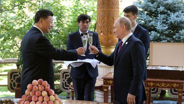 Президент РФ Владимир Путин и председатель КНР Си Цзиньпин (слева) во время встречи в резиденции китайского лидера в Душанбе - Sputnik Тоҷикистон