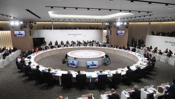 Заседании глав делегаций государств – участников Группы двадцати, приглашенных государств и международных организаций в формате рабочего обеда в Осаке - Sputnik Таджикистан