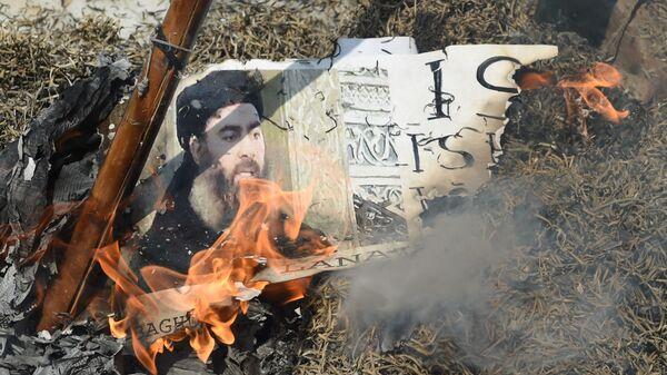 Портрет лидера ИГ* Абу Бакра аль-Багдади сжигают во время демонстрации в Индии - Sputnik Тоҷикистон