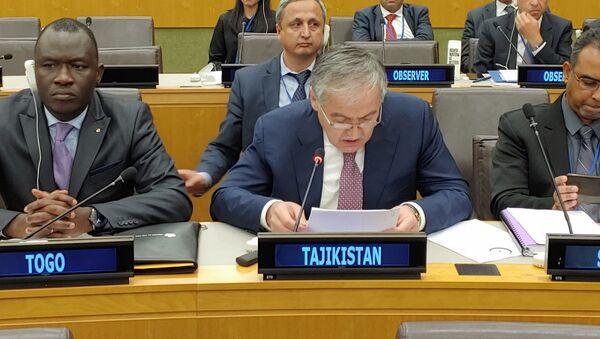 Выступление министра иностранных  дел Таджикистана Сироджидина Мухриддина в Ню-Йорке  - Sputnik Тоҷикистон
