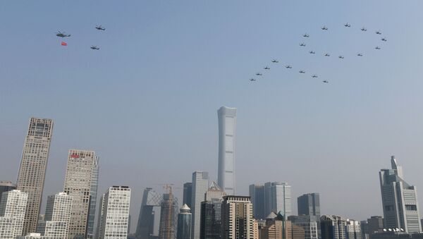 Военные вертолеты на военном параде в честь 70-летия образования КНР в Пекине  - Sputnik Таджикистан
