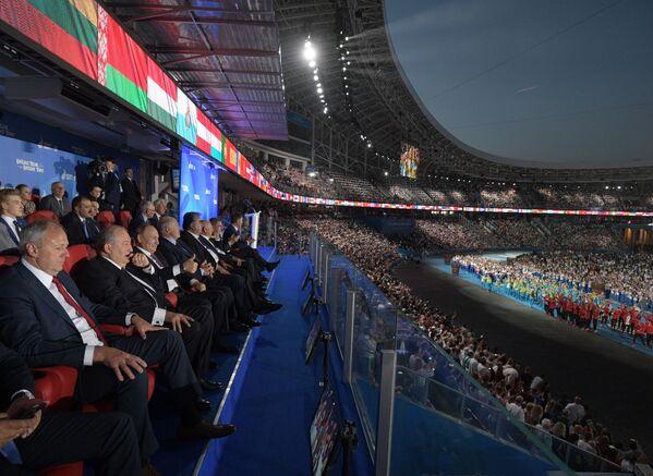 Президент РФ Владимир Путин на торжественной церемонии закрытия II Европейских игр в Минске - Sputnik Таджикистан