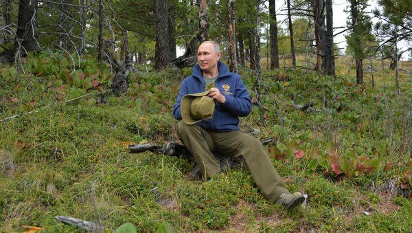 Президент РФ Владимир Путин во время прогулки в тайге - Sputnik Таджикистан
