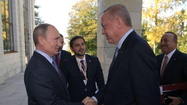 Президент РФ Владимир Путин и президент Турции Реджеп Тайип Эрдоган (справа на первом плане) во время встречи - Sputnik Таджикистан