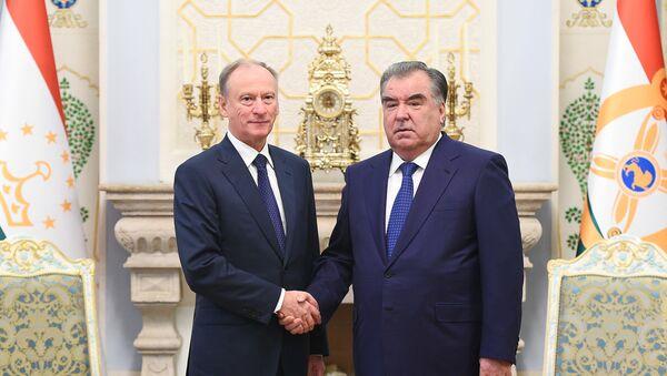 Секретарь Совета безопасности РФ Николай Патрушев и президент Таджикистана Эмомали Рахмон - Sputnik Таджикистан