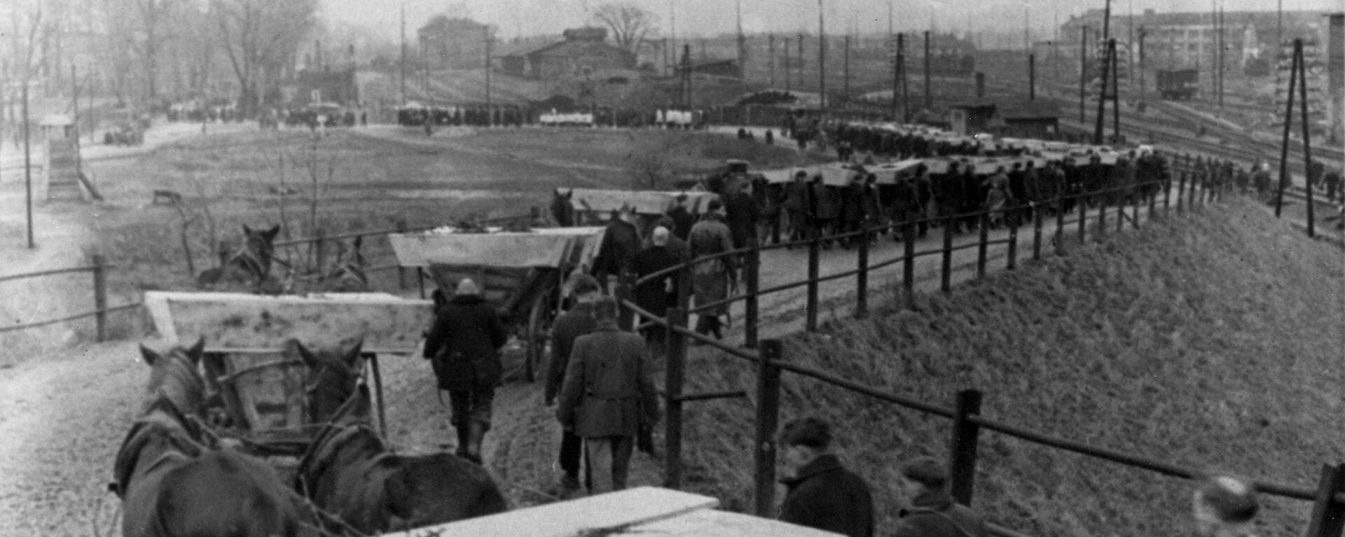 Похороны погибших узников, освобожденного Красной Армией концентрационного лагеря Освенцим - Sputnik Таджикистан, 1920, 27.01.2020