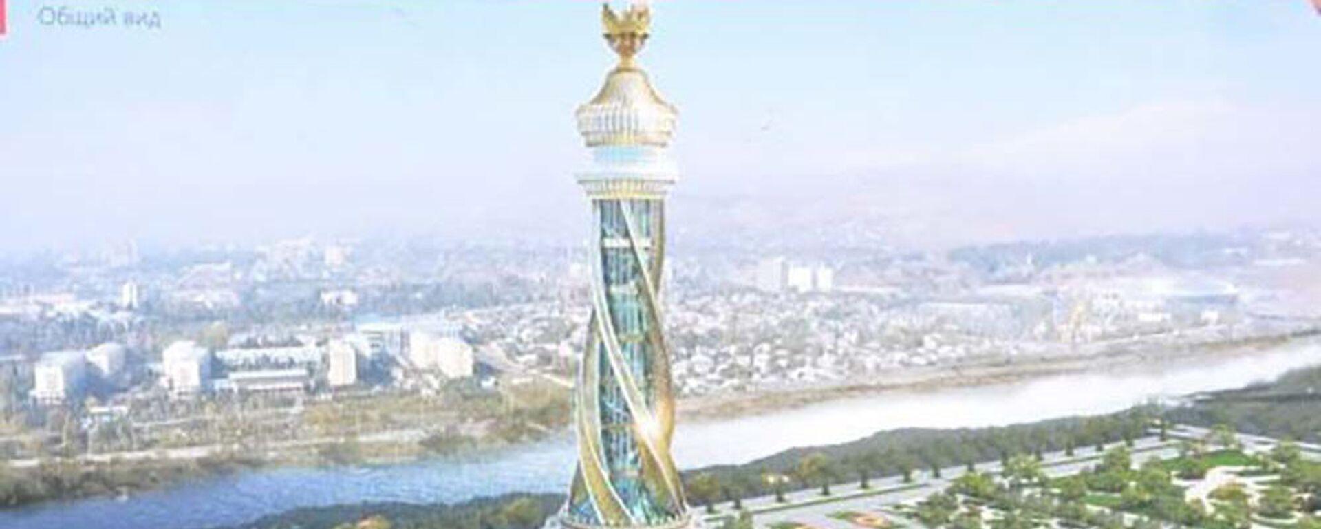 Макет парка Истиклолият с архитектурным комплексом и стелой - Sputnik Таджикистан, 1920, 20.08.2021