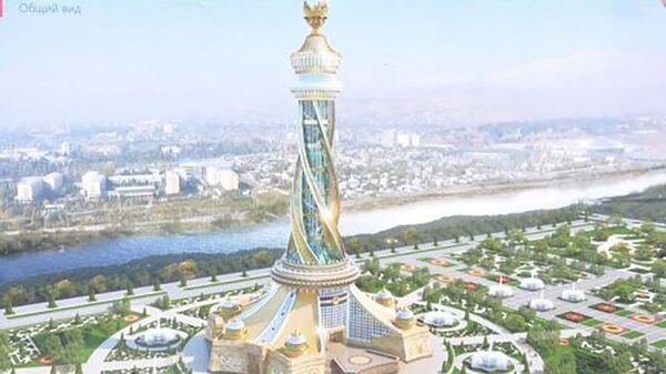 Макет парка Истиклолият с архитектурным комплексом и стелой - Sputnik Таджикистан
