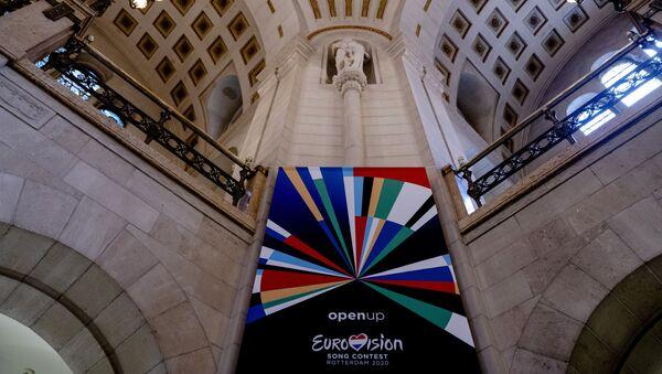 Баннер с логотипом 65-го конкурса песни Евровидение в Роттердаме - Sputnik Таджикистан