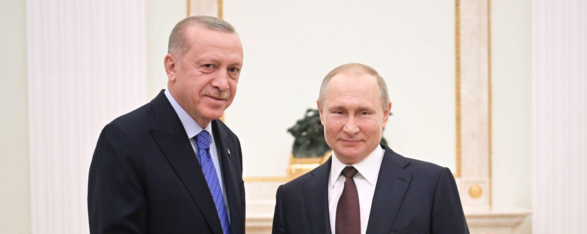 Президент РФ В. Путин встретился с президентом Турции Р. Эрдоганом - Sputnik Тоҷикистон, 1920, 30.09.2021